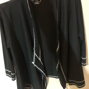 black with white outer line cardigan/sweater